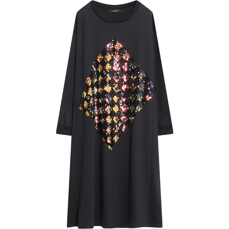 LANMREM/2018 г. осеннее Новое модное лоскутное платье с блестками и круглым воротником, повседневное Свободное платье с длинными рукавами, большие размеры, Vestido SC271