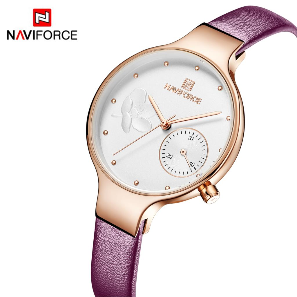 NAVIFORCE Women Watch Fashion Dress Quartz Watch Lady Leather Casual Waterproof Wristwatch Gift For Wife Purple Green Black Red