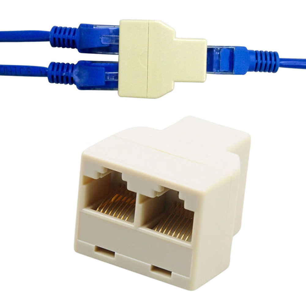 2PCS  1 To 2 Ways LAN Ethernet Cord Network Cable RJ45 Female Splitter Connector Adapter Hot Sale