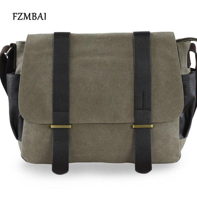 Fzmbai Men Canvas Messenger Bags Male Leisure Satchel Bag College School