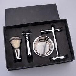 Kit da barba degli uomini regalo di Natale grooming kit da barba pennello da barba e rasoio set con rasoio di sicurezza