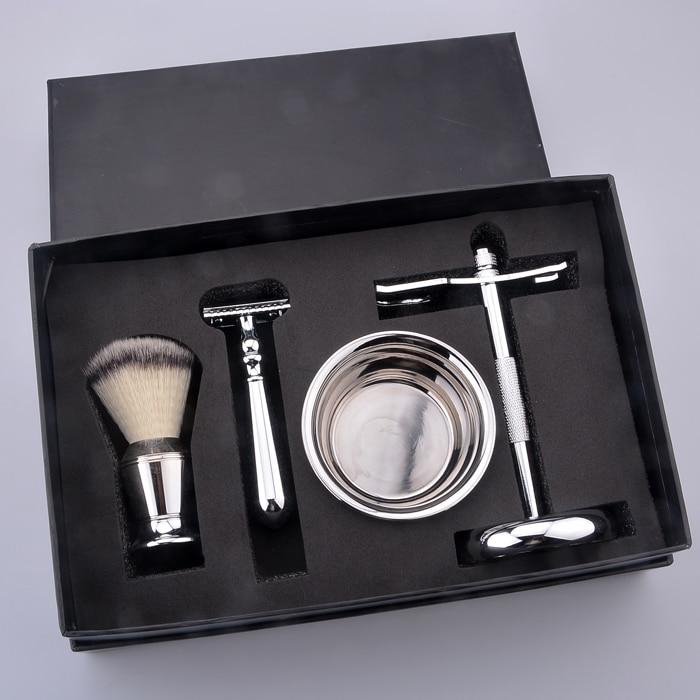 shaving kit Christmas gift men's grooming shaving kit shaving brush and razor set with safety razor mens badger shaving brush stand razor holder and double head safety straight razor