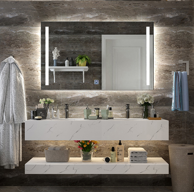DIYHD Wall Mount Led Lighted Bathroom Mirror Vanity Defogger 2 Vertical Lights Rectangular Touch