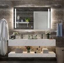 DIYHD стену Led подсветкой Ванная комната косметическое зеркало туманорассеиватель 2 вертикальные Огни Прямоугольные Light Touch зеркало