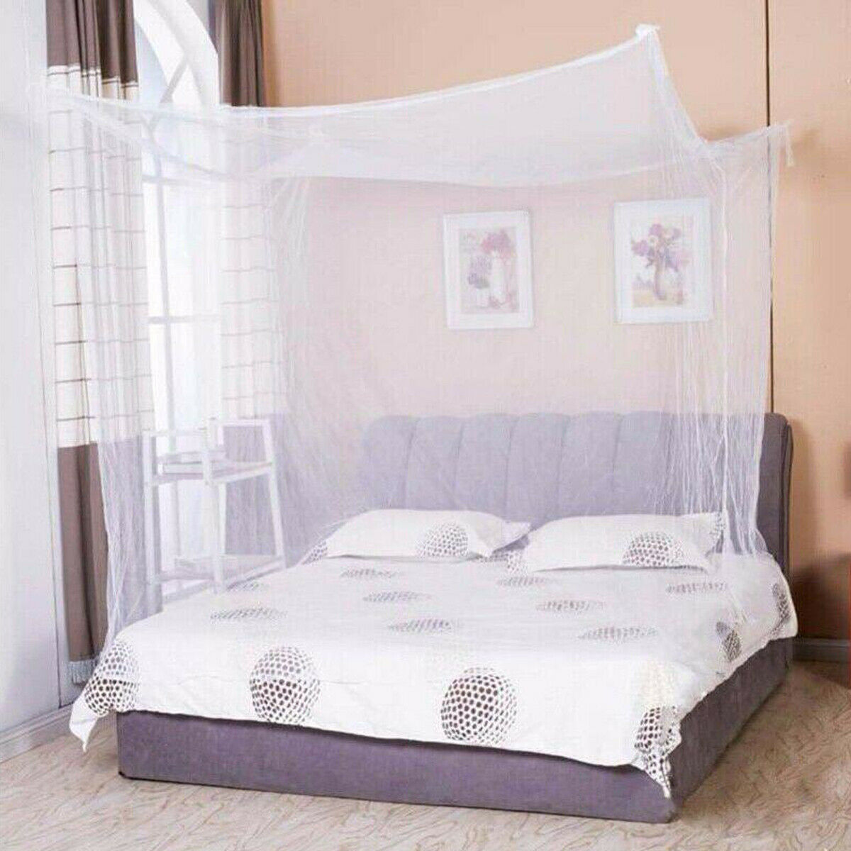 4 Corner Mosquito Net Mesh Canopy Insect Queen King Size Netting Curtain Dome