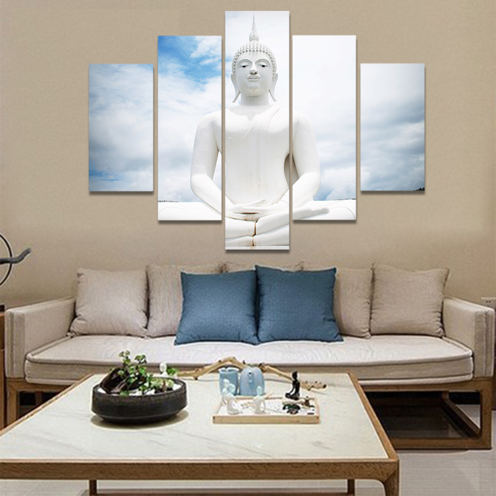 Unframed Canvas Painting Buddhism White Buddha Meditation Statue Picture Prints Wall Picture For Living Room Wall Art Decoration