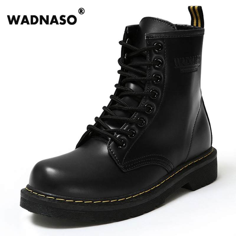 2017 New Autumn and Winter Waterproof Artificial Leather Boots Women's Martin Boots British Winter Warm Shoes for Girl platform
