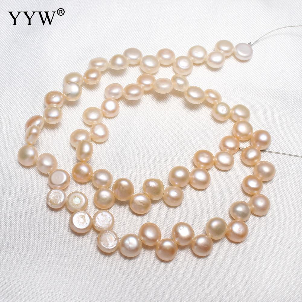 YYW Cultured Coin Freshwater Pearl Beads Flat Round Natural Pink 8-9mm Approx 0.8mm Sold Per Approx 15 Inch Strand