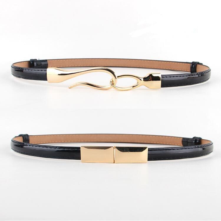 Wild patent leather dress   belt   female skirt decorate cummerbund fashion thin adjustable   belts   gold buckle adjust female PU women