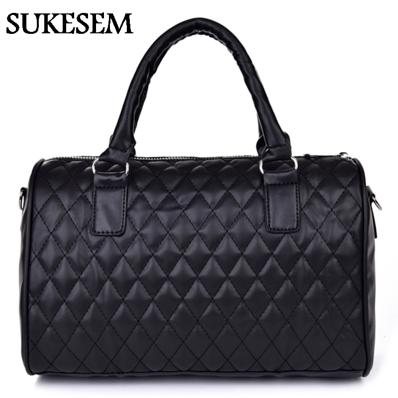 2017  New black PU women leather handbag plaid bag women messenger bags