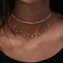 2019 New Fashion Multilayer Choker Necklace Crystal Star Chain Gold Women Summer Jewelry