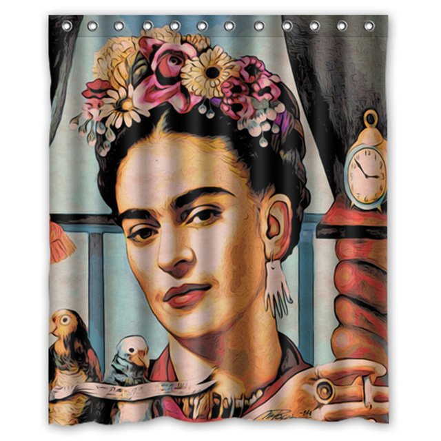 Famous Painter Frida Kahlo Painting Custom 66 X 72 Waterproof Polyester Fabric Bathroom Shower Curtain