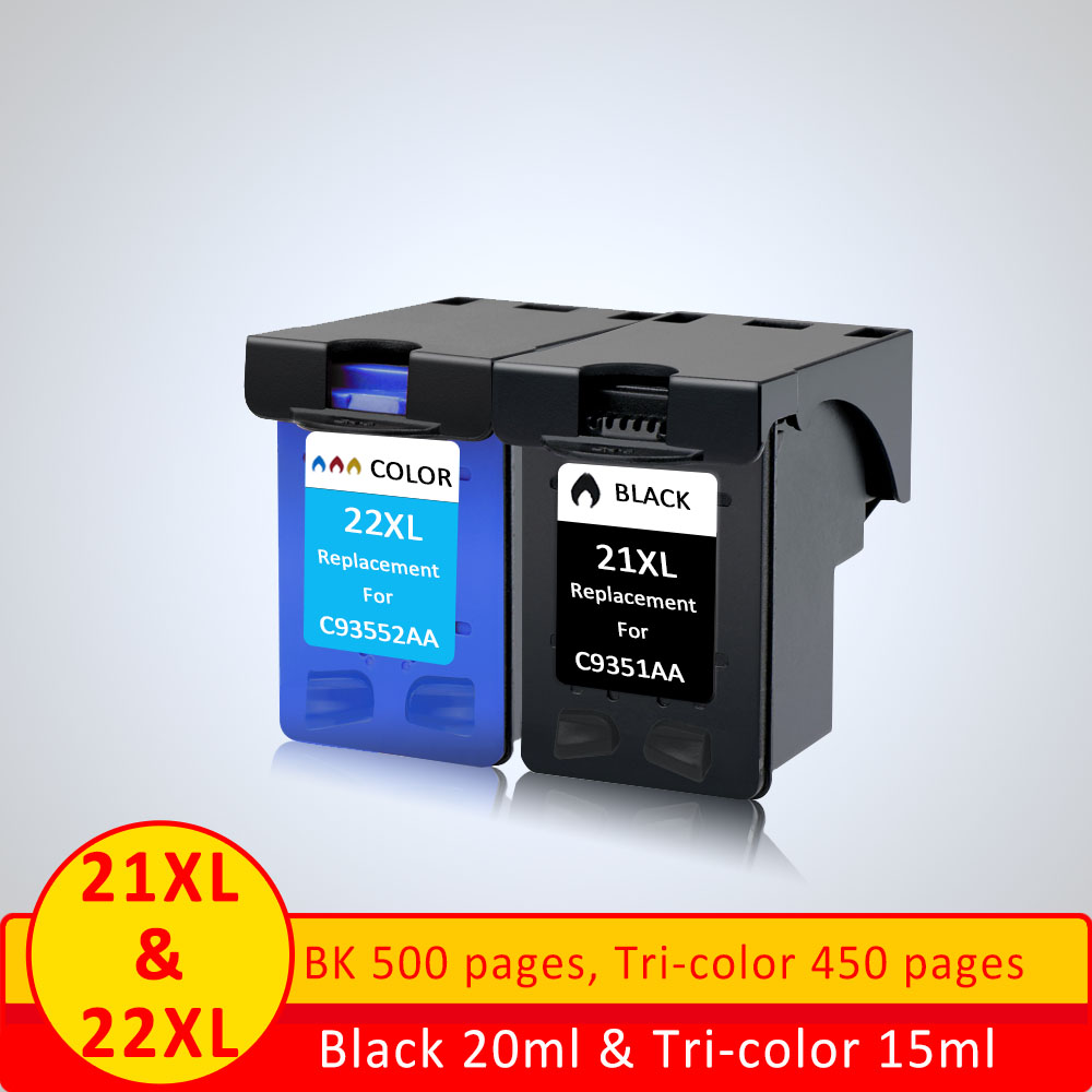 XiangYu 2Pcsset 21xl 22xl Refilled ink cartridge replacement For hp 21 22 compatible For HP Deskjet f4180 f2180 3930 3940 D1311