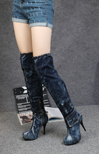 Blue Denim Overe-the-knee Boots Fashion Thin Heels Pumps Cowboy Waterproof Shoes High Heels Jean Round Toe Knight Boots blue denim water wash over the knee boots stiletto heels pumps cowboy shoes high heels pointed toe autumn winter knight boots