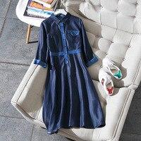 2018 Лидер продаж спандекс платье трапециевидной формы vestidos mujer в Новый стиль с лацканами, одна кнопка, Цвет, деним, джинсы, большой кулон плать