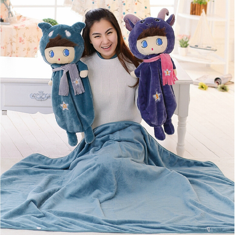 Multi functional multi purpose Doll cushions Pillow Toy Cover Blanket Quilt Cloak Creative 12 Zodiac Holiday DIY birthday gift