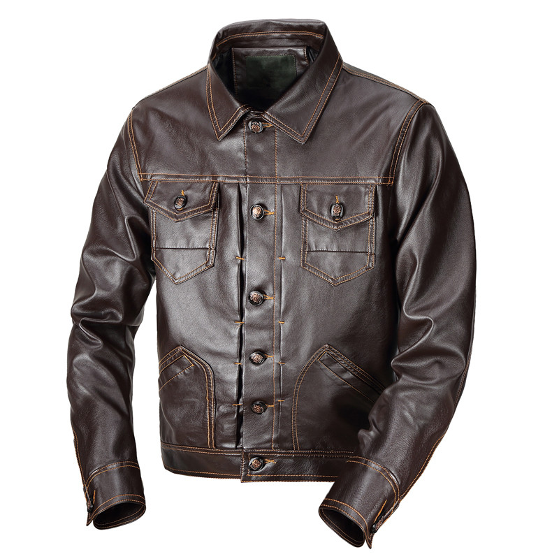 Jacket Leather Coat Motorcycle Coats Design Casual Stand Windbreaker Collar Men's