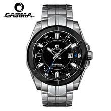 New brand luxury solar watch men's stainless steel leather quartz watch waterproof 100 meters men's watches CASIMA # 9905