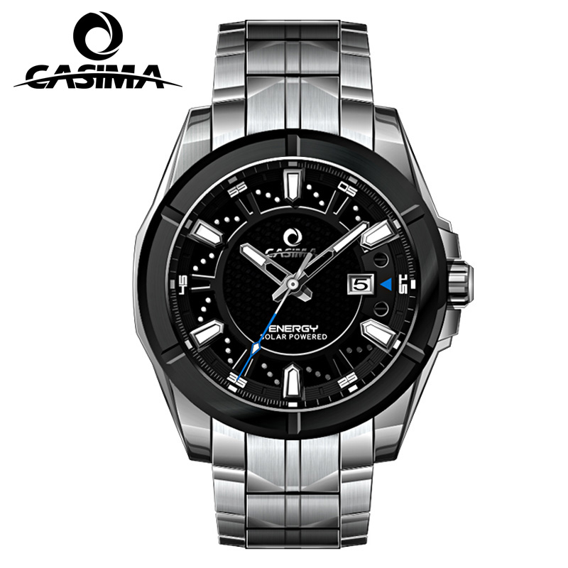 New brand luxury solar watch men's stainless steel leather quartz watch waterproof 100 meters men's watches CASIMA # 9905