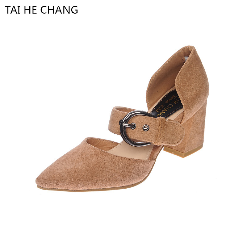 Latest 2017 new korean autumn spring style pointed toe pumps casual shoes Flock Thick Heels Buckle Strap Shallow Women Shoes 2015 autumn korean style pointed shoes with thin heels original glass double peach heart design shoes leather shoes