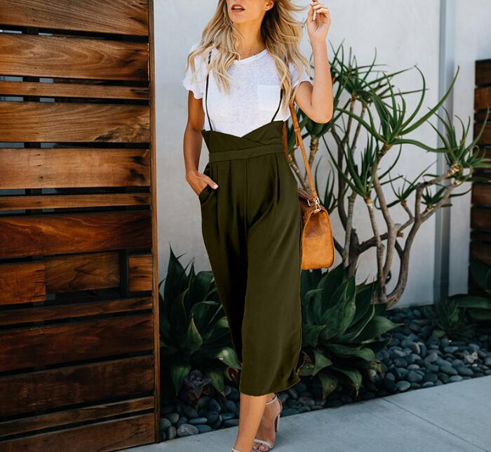 QuTess Women Jumpsuit Sleeveless Printed Casual Wide Leg Pants Outfit Trouser Playsuits Beach Rompers Holiday