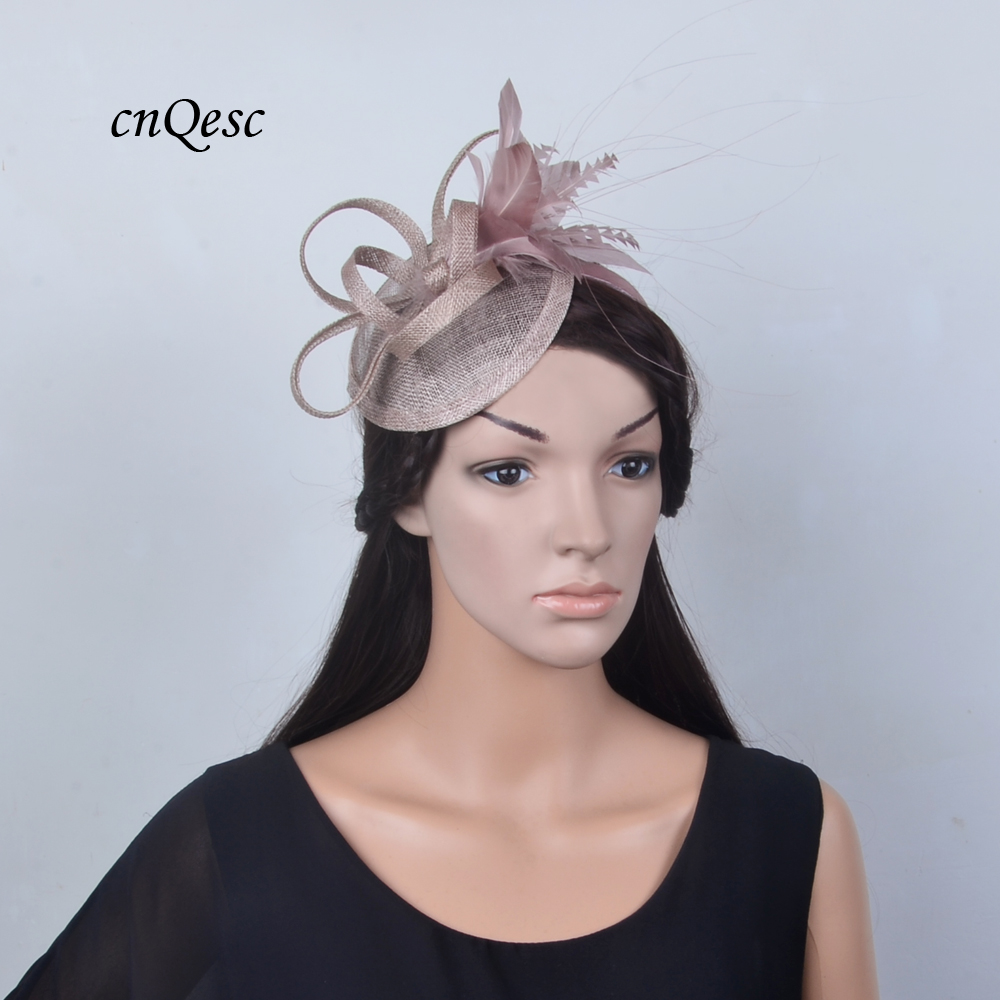 Wholesale NEW 20 colours Oyster pink sinamay feather fascinator hair accessory for Kentucky derby and  wedding women's hat.