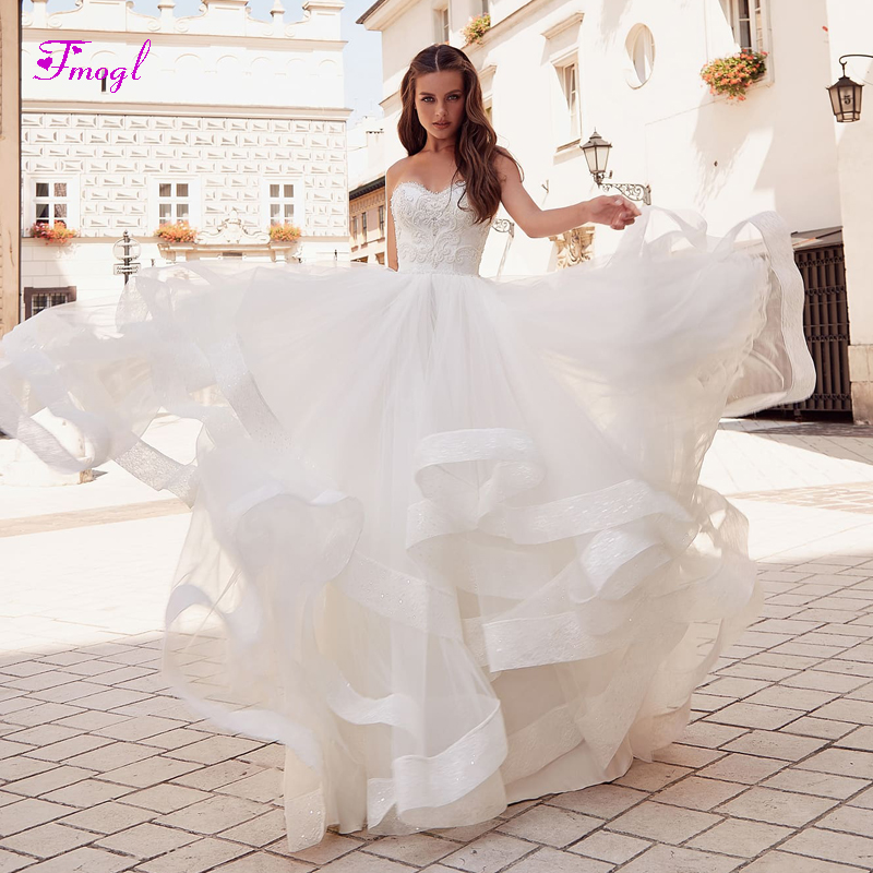 8de043819c6 Fmogl Luxury Beaded Strapless Lace Up A-Line Wedding Dresses 2019 Appliques  Ruched Tulle Princess