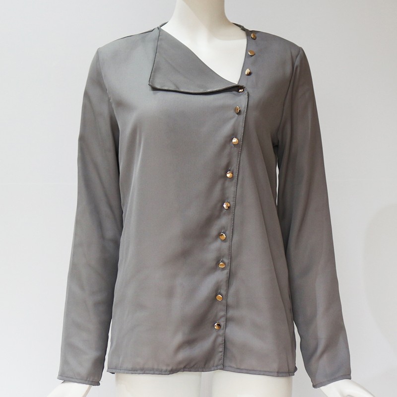 aaf9dfde531 Chiffon Blouse 2018 Fashion Long Sleeve Women Blouses and Tops Skew Collar  Solid Office Shirt.