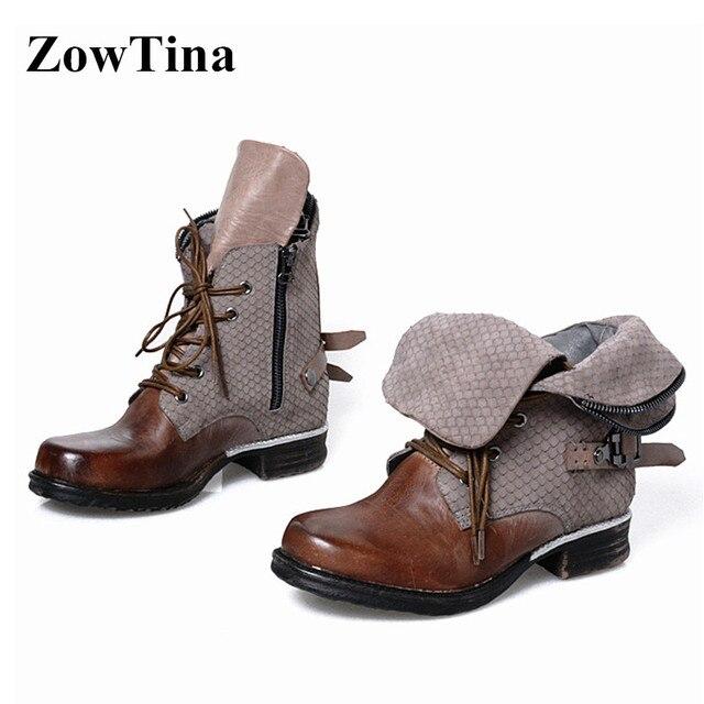 062fa200 Kobiety w stylu Vintage buty zimowe buty do kostki ze skóry naturalnej 3 cm  mieszkania Bota