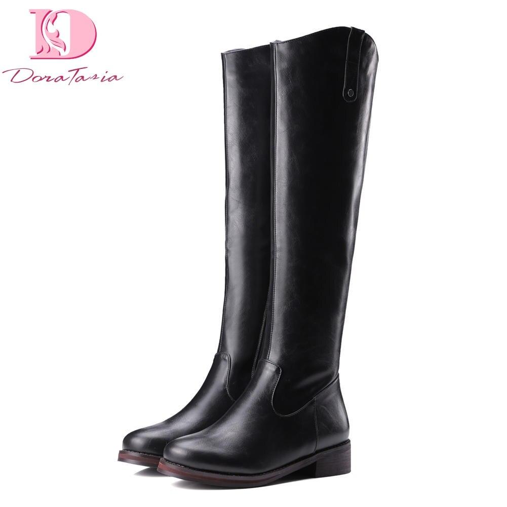 Doratasia/2018, большие размеры 32-43, сапоги до колена на массивном каблуке, женская обувь на молнии, оптовая продажа, осенне-зимняя обувь, женские са...