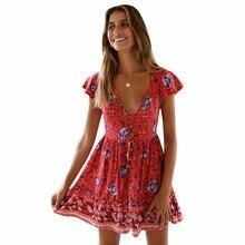 BEFORW Boho Floral Print Summer Dress Women Sexy V Neck Party Mini Dresses Casual Short Sleeve Beach Female Vestidos