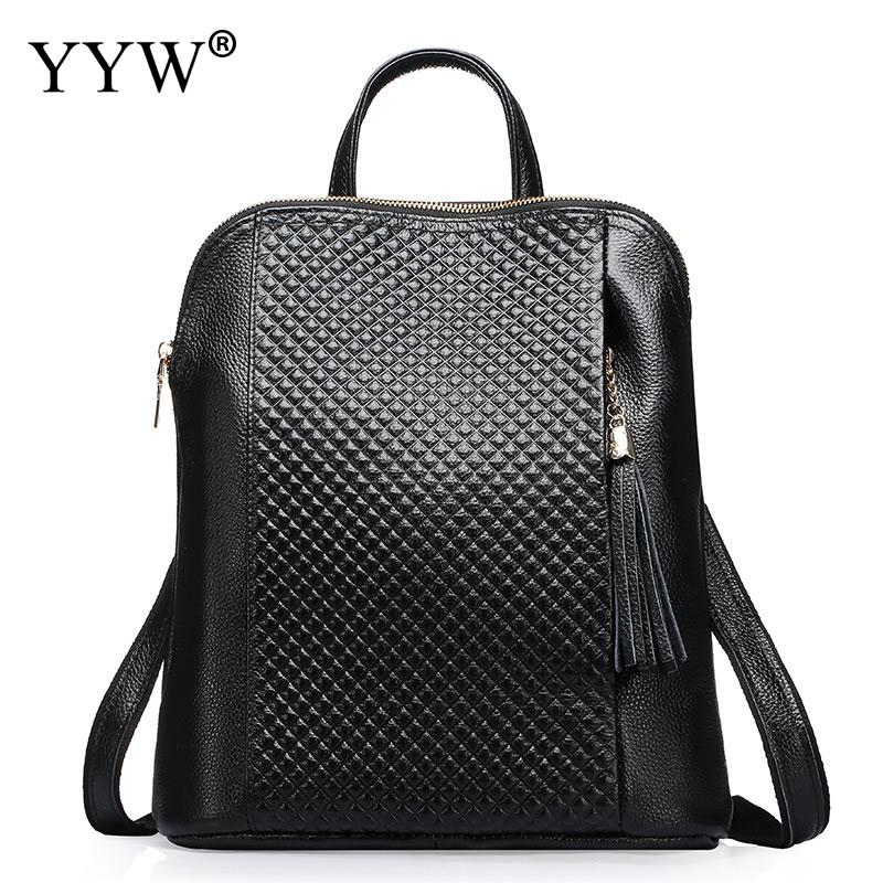 Fashion Design Genuine Leather Backpack Women Shoulder Bag Solid School Backpacks For Teenage Girls Black Mochila Large Capacity 33cm women backpack oil wax cow genuine leather backpack for teenage girls school large capacity shoulder bag brown tote mochila