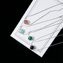 Fashion Round Beads Pendant Necklace Vintage Natural Stone Choker Necklaces Gift For Women Charms Jewelry