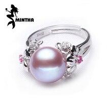 MINTHA 10-11mm pärlsmycken, naturliga pärlringar för kärlek, sötvattenspärla 925 silverring, rubin silverringar för kvinnor presentförpackning