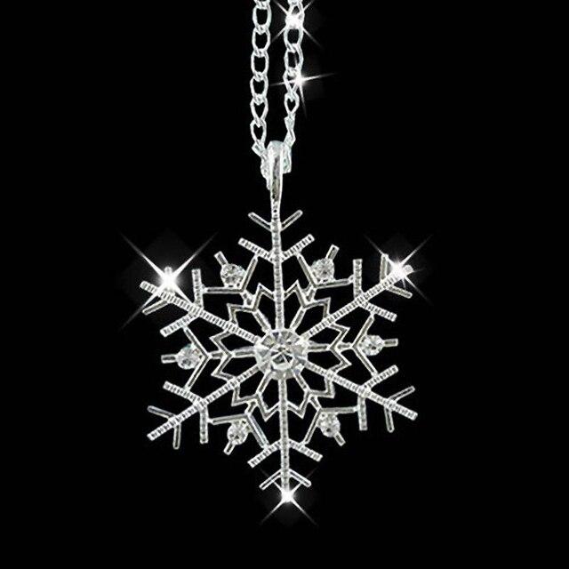 Модные Ожерелья Для Женщин Серебро Замороженные Снежинка Кристалл Ожерелье Цепи Рождественский Подарок Колье Femme