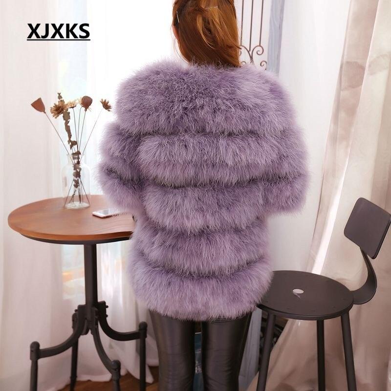 Slim Et D'autruche 2018 Red Cheveux noir Section Réel wine Plume Femmes Gray Manteau gris D'hiver De Automne Épais Rond Col Longue Purple Autruche Mince Veste 5rZBzr