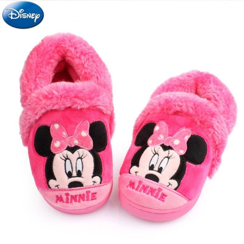 f0fe05345d Disney Crianças Chinelos Em Casa Meninas Minnie Mouse Mickey 2018 Meninos  Sapatos de Inverno De Pelúcia de Algodão Quente Não slip Interior Bebê  infantil em ...