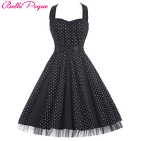 Belle Poque Women Summer Dress 2018 Retro Halter Polka Dot Casual Party Woman Clothing Robe Vintage 50s 60s Rockabilly Dresses