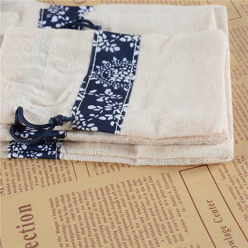 50pcs Dark Blue Printing Linen Gift Bag Can Be Used To Jewelry And Wedding Party Christmas Candy Packaging Free Shipping In Bags Wring