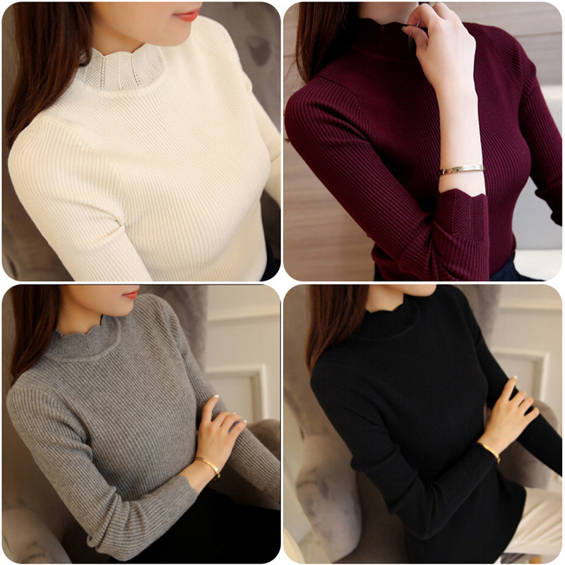 Korean Style Women Sweaters and Pullovers Ruffled Sleeve Turtleneck Solid Slim Sexy Elastic Women Tops