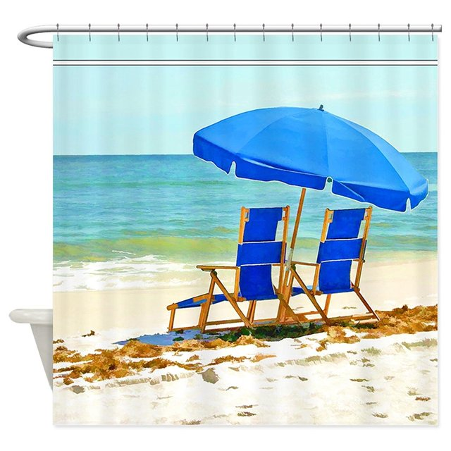Yilooom Beach Umbrella And Chairs Printed Fabric Shower Curtain Polyester Waterproof Bathroom Curtains 66x72 Scenic