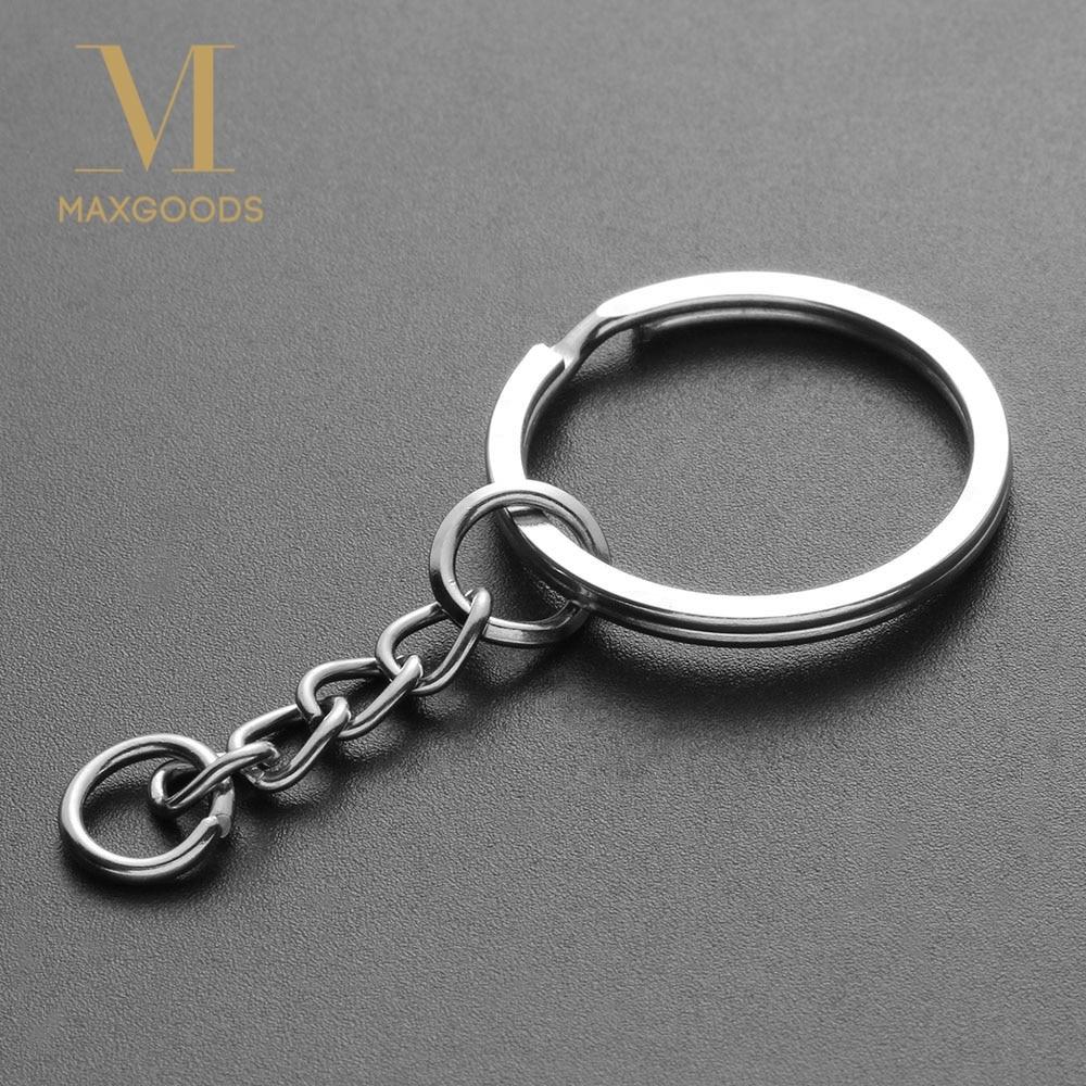10pcs Silver Polished Keyring Key Chain Split Ring Short Chains 25mm DIY Kit