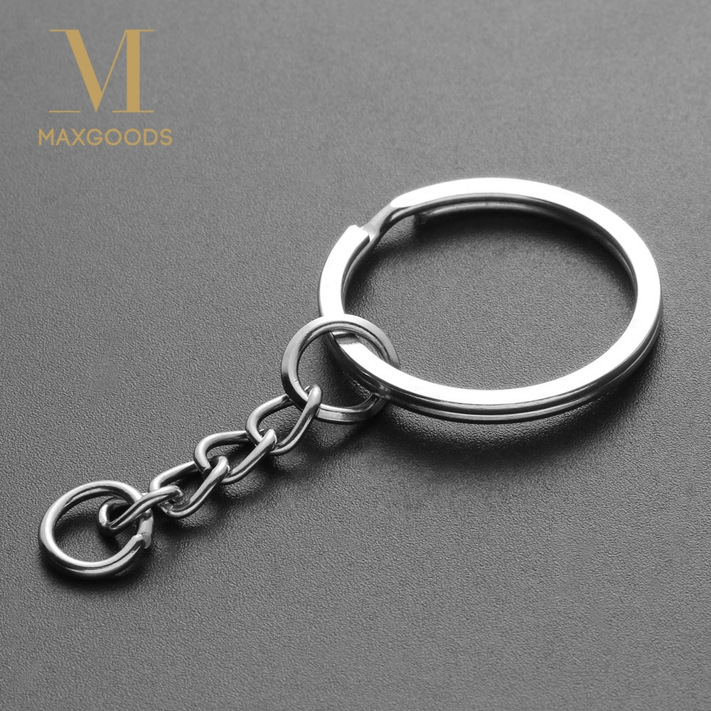 SILVER APPLE DOUBLE LOOP SPLIT KEY RING CRAFTS FINDINGS KEYRINGS 30mm