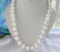HOT 001642 24 20mm WHITE EGG SOUTH SEA SHELL PEARL NECKLACE