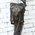 Gothic Skull PU Leather Rivet Steampunk Waist Bag Women's Motorcycle Rock Cross Body Bag