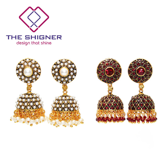 THE SHIGNER Indian Tradition Jewelry Bombay Fashion Stylish Party Wear Gold  Color Crystal Pearl Jhumki Jhumka Dangle Earrings 5b3209d5cdd3