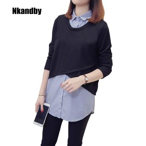 Nkandby Plus size Femme Striped Patchwork Shirts 2018 Autumn Korean Fake two piece Blouses For Women Loose 5XL 4XL Oversized Top Pakistan