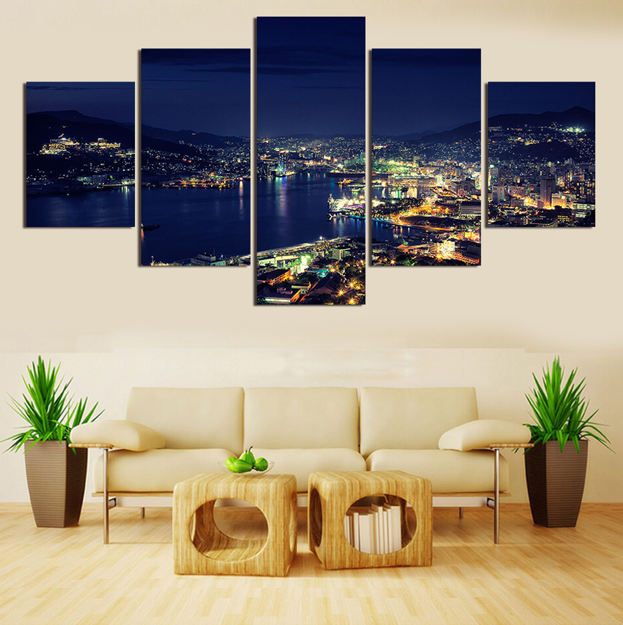 Home interiors and gifts paintings - 5 Pieces Set City Night Scene Large Canvas Print Painting For Living Room Wall Art Picture Gift Home Decoration No Frame