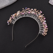 New Trendy Bridal Pearl Silver Soft Tiara Crown Pink Rhinestone Wedding Accessory Hair Jewelry Crystal Headband Female Wholesale