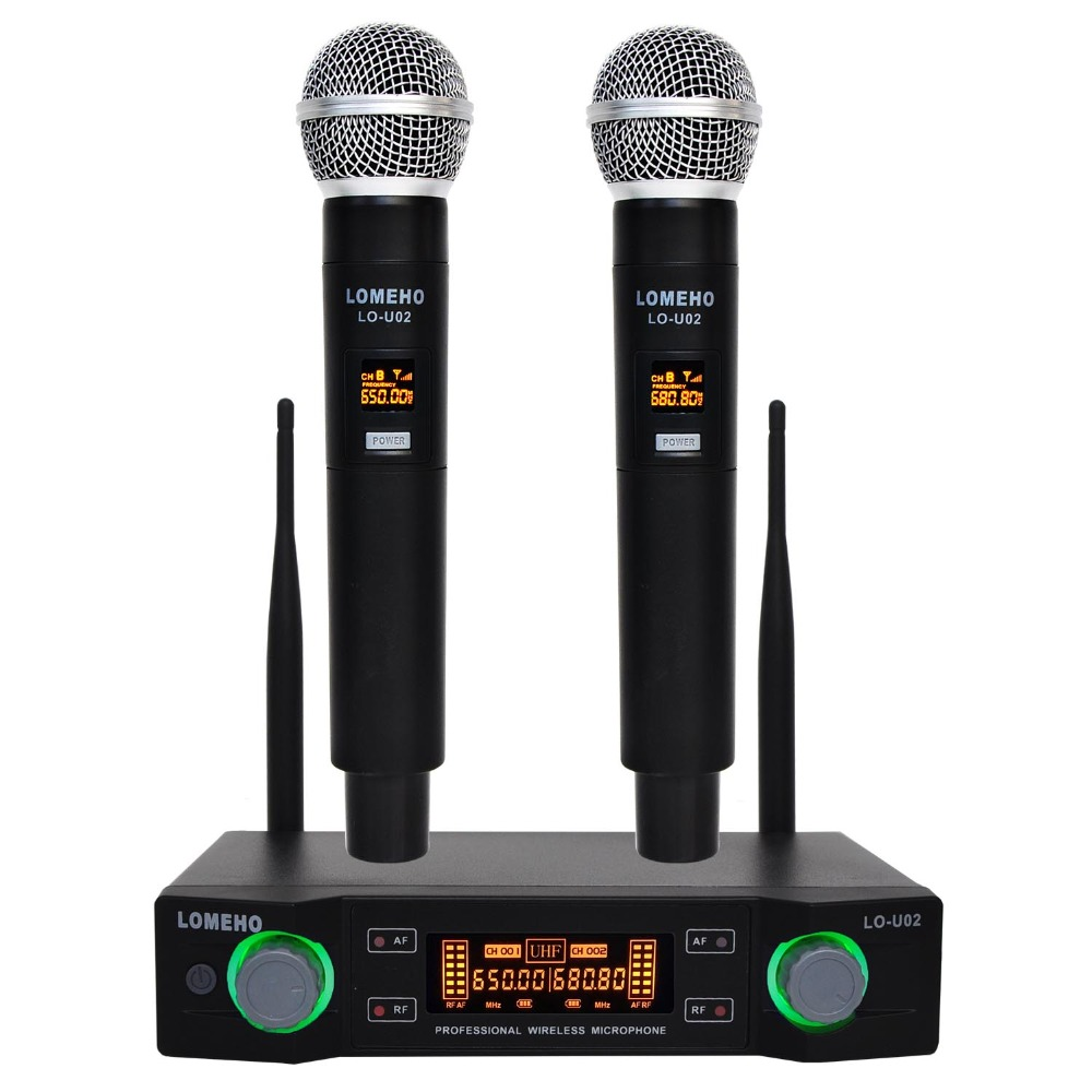 Lomeho LO-U02 2 Handheld UHF Frequencies Dynamic Capsule 2 channels Wireless Microphone for Karaoke System dual handheld wireless microphone system uhf frequencies adjustable professional cordless mic 2 channels for karaoke live show